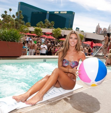 Celebrates her birthday at the Wet Republic pool at the MGM Grand in Las Vegas | May 13, 2011.