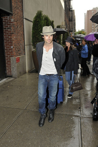 "Ian Somerhalder of ""The Vampire Diaries"" is seen leaving the Hudson Bar with a suitcase"
