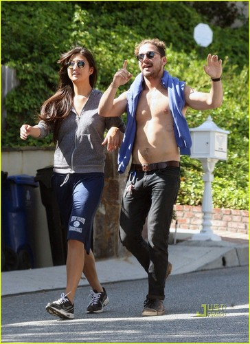 Shia LaBeouf: Shirtless Stroll with Karolyn Pho