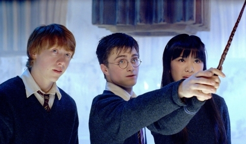 Cho Chang with Harry Potter and Ron Weasley
