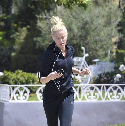 Amber Heard out for a Jog in Hollywood, June 1st.