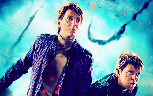 Deathly Hallows Action Wallpaper: The Weasley Twins