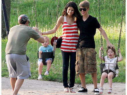 Justin and Selena in Stratford, in park with Justin's dad's kids