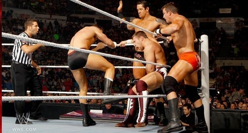 wwe All estrella six man tag match