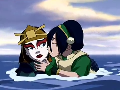 toph thinking she's kissing sokka