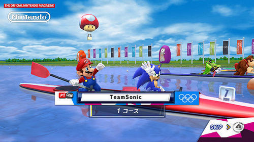 Sonic and Mario getting ready for the Canoeing event.