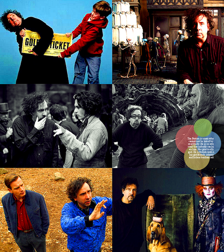 Tim Burton on set
