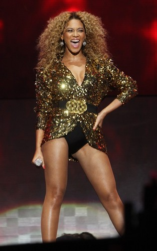Beyoncé performing at the 2011 Glastonbury Festival (June 26).