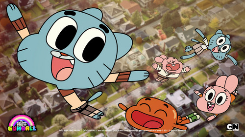 Gumball and family flying