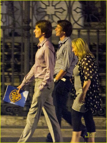 James and Oliver Phelps at Dal Bolognese in Rome, Italy on Friday night (July 1)