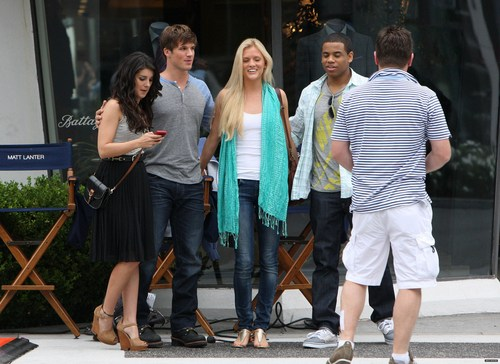 Matt and Shenae on set of 4th season