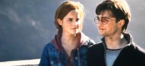 Harry and Hermione on the bridge after the battle