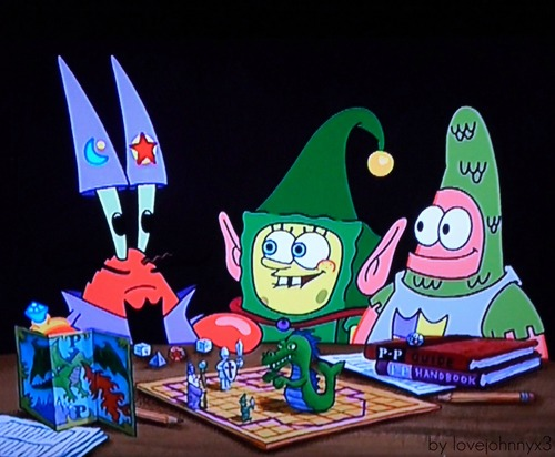Spongebob, Patrick & Mr. Krabs playing a Middle Ages - board game