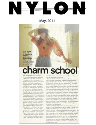 "Lenka in Nylon ""Charm School"""