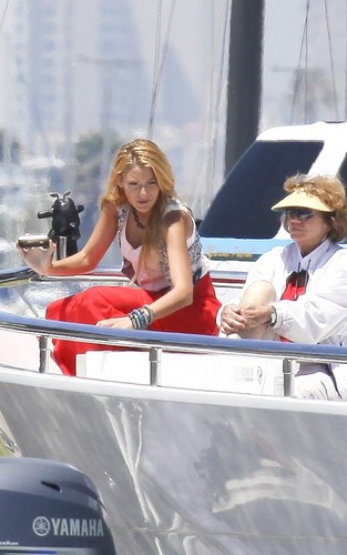 Blake Lively, Chace Crawford and Ed Westwick filming Gossip Girl in a yacht in Long Beach, CA (Augus