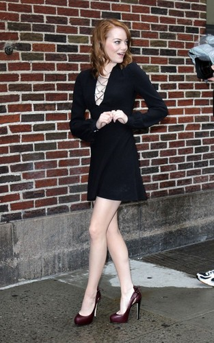 "Emma Stone arriving for her appearance on the ""Late toon with David Letterman"" (August 3)."