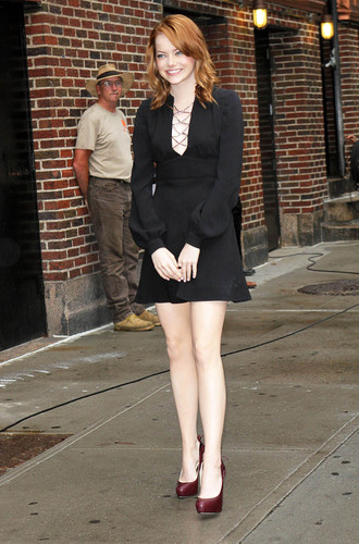 Emma Stone visits the Late tunjuk with David Letterman in NYC, Aug 3
