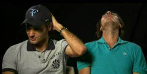 Nadal threw back his head and he about to kiss Roger