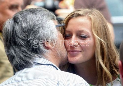 Petra Kvitova kiss with Jiri Bartoska