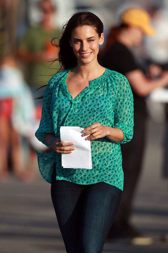 "A radiant Jessica Lowndes takes a break from filming a romantic beach scene on the set of ""90210"""