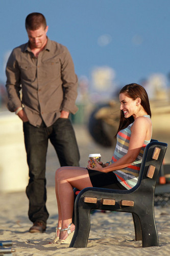 "Jessica Lowndes films a romantic beach scene on the set of ""90210"" in Los Angeles"
